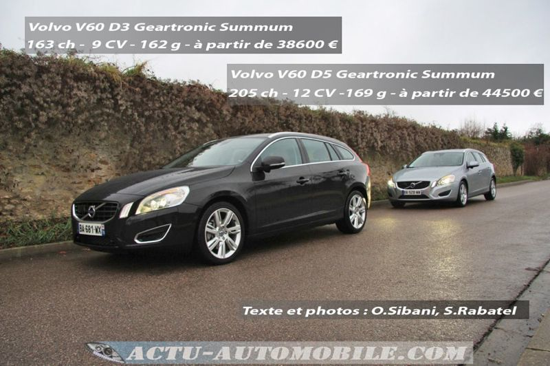 essai gamme volvo v60 d3 geartronic ou d5 geartronic actu automobile. Black Bedroom Furniture Sets. Home Design Ideas